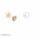 Imagen Pendientes niña oro 18 k perla 6 mm
