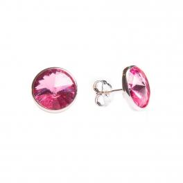 Pendientes de plata y swarosvski rosa pequeño