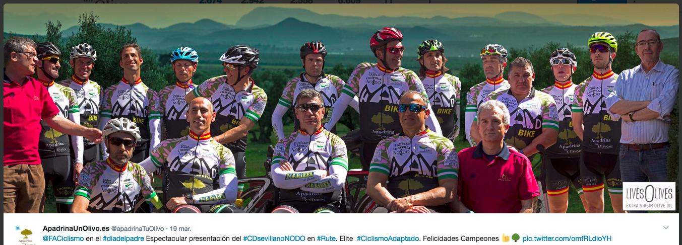 Equipo de Ciclismo Adaptado de LivesOlives - Aceite Solidario