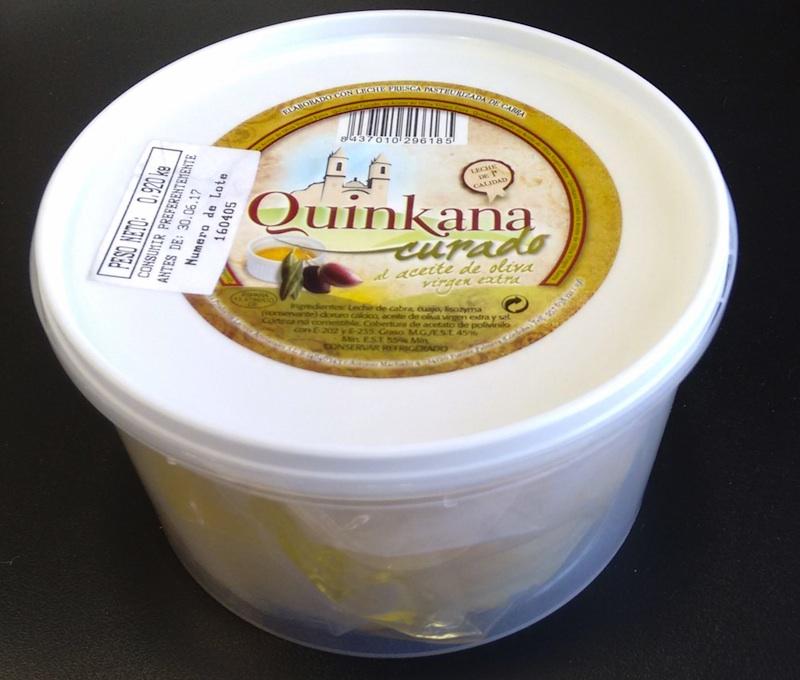 Queso Quinkana puro de cabra curado en aceite de oliva virgen extra AOVE tarrina 1kg