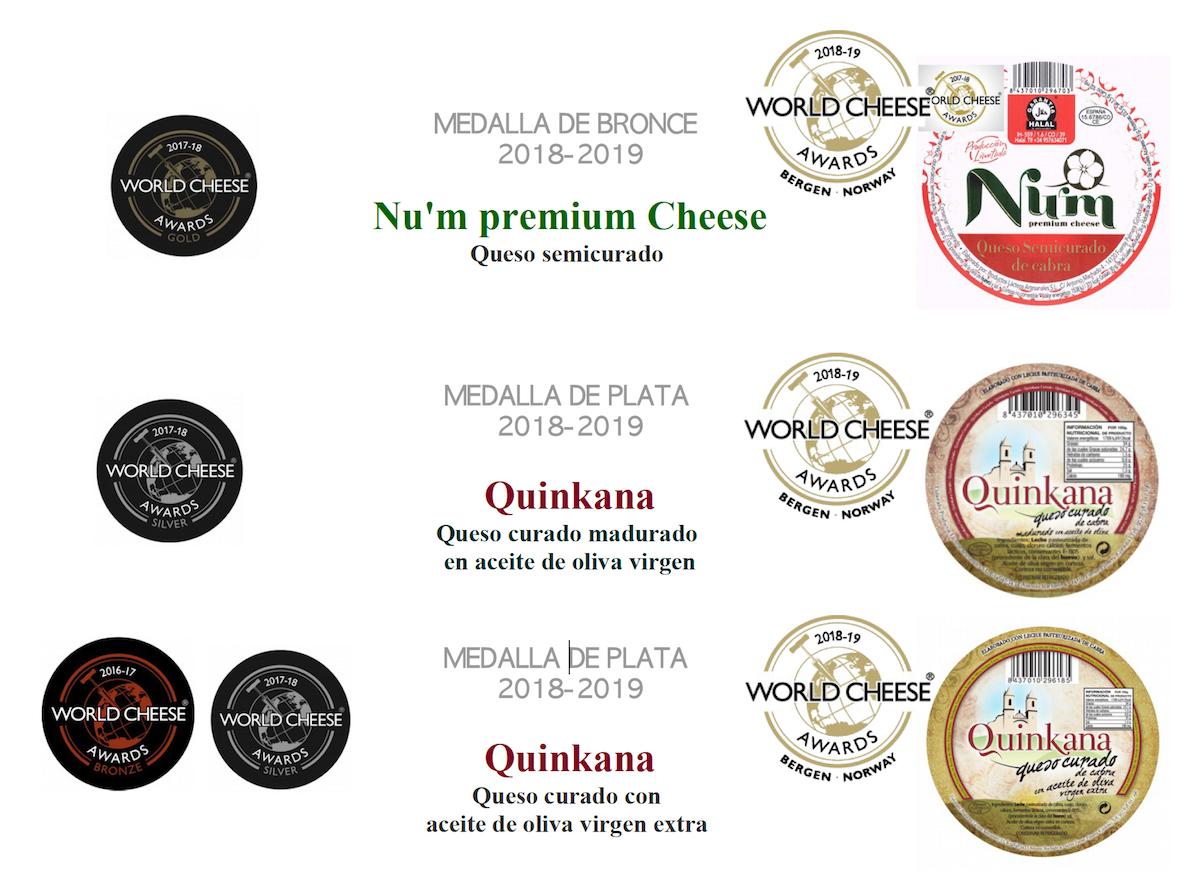 Tabla de premios World Cheese Awards de algunos quesos de de cabra PRODUCTOS LÁCTEOS ARTESANALES