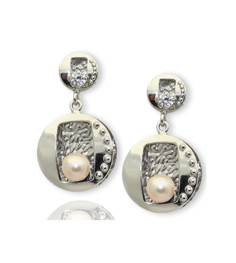 Pendientes plata con perlas...