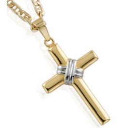 Cruz con cadena de oro para niño