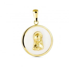 Medalla Virgen Niña Nácar Oro 20mm
