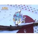 Imagen  Sortija plata con baño de rodio creada con Crystales de Swarovski®