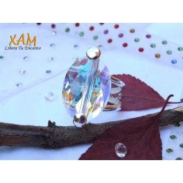 Sortija plata con ba o de rodio y creada con crystales de for Bano de rodio precio