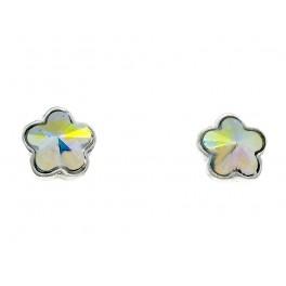 Pendientes niña plata Flor creados Crystales de Swarovski®.