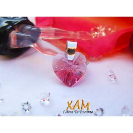 Colgante de corazón plata y baño de rodio creado con Crystales de Swarovski®
