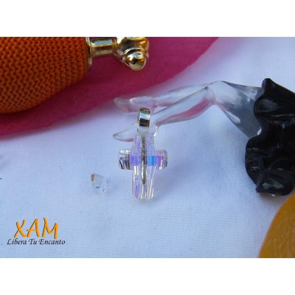 Cruz en plata y ba o de rodio creada con crystales de for Bano de rodio precio