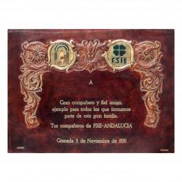 Placa homenaje dos óvalos