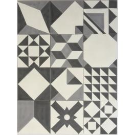 Baldosa Hidráulica Patchwork Geométrico Blanco y Negro