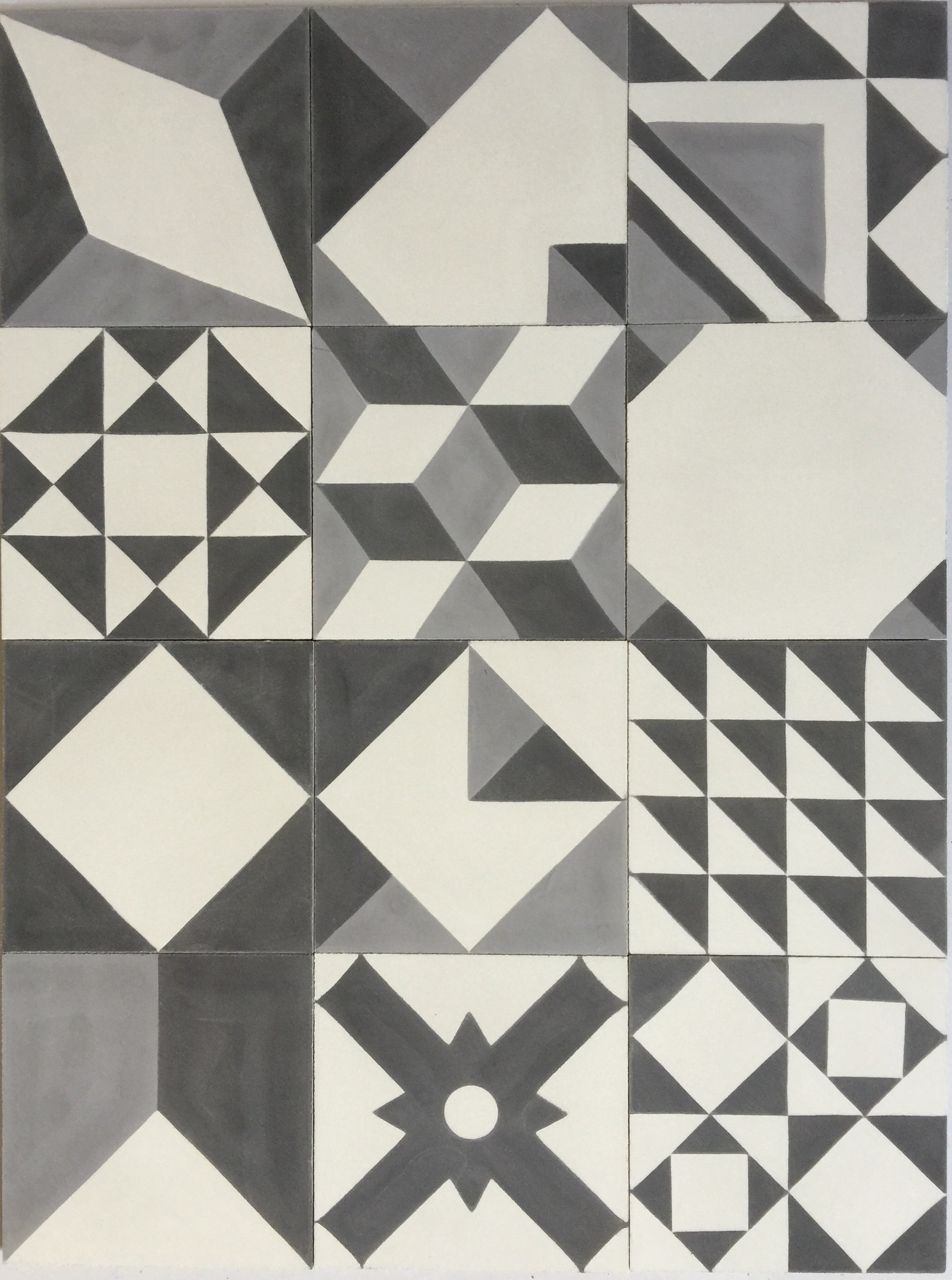 Baldosa hidr ulica patchwork blanco y negro mosaicos for Baldosa para piso de bano
