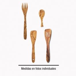 CUBIERTOS EN MADERA DE OLIVO. LOTE Nº 2