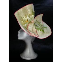 Arpillera natural y tarlatana con amapola en seda