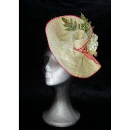 Sombrero de arpillera natural y tarlatana