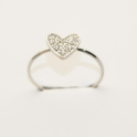Imagen Sortija en oro blanco con forma de corazón